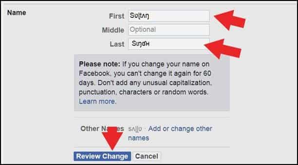 Facebook profile name stylish font