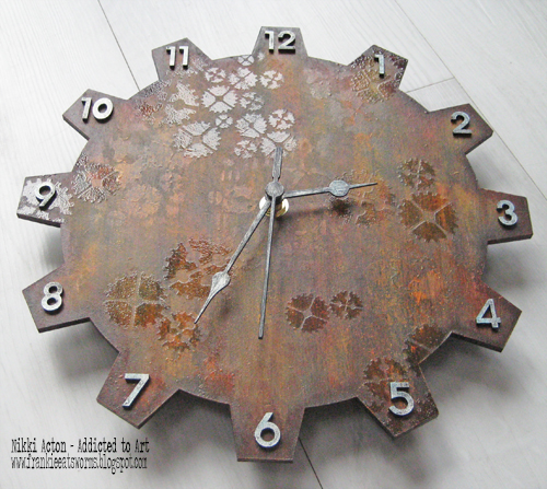 That's Crafty MDF Clock with Deco Art Media Fluid Acrylics - Nikki Acton