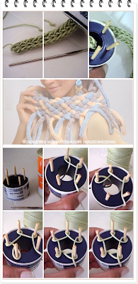 telar tricotín, bufanda trenzada, telares, tejidos telar