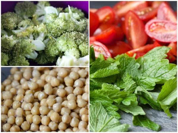 Experimentierküche Brokkoli Kichererbsen Curry Zitronenmelisse Tomaten Fleurcoquet