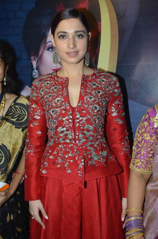 Tamannaah Bhatia In Red Dress at Tirumala Furnitures Launch