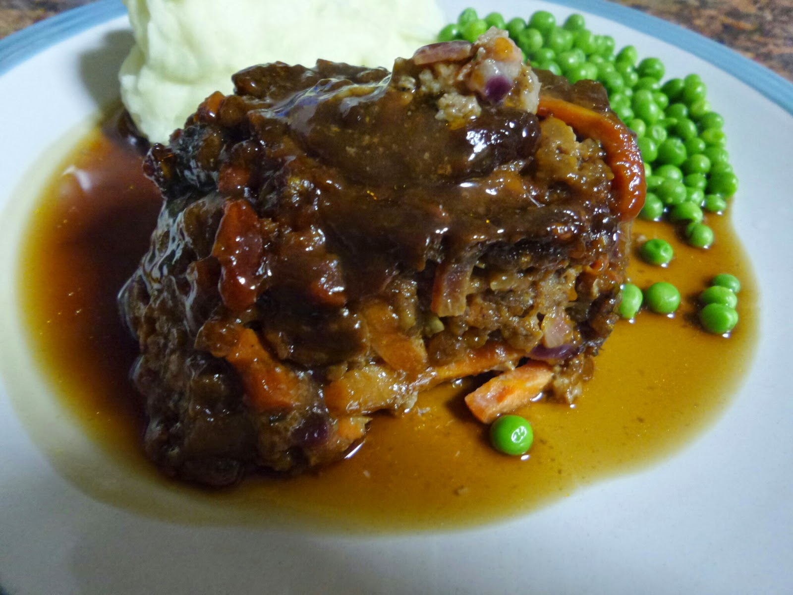 Microwave Meatloaf, Peas, Mash and Gravy