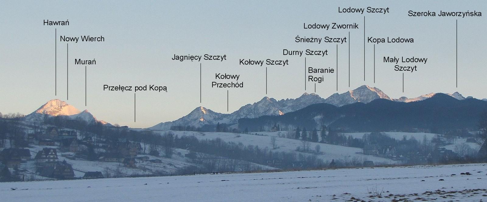 Panorama słowackich Tatr Bielskich i Tatr Wysokich.