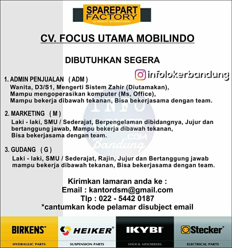 Lowongan Kerja  CV. Focus Utama Mobilindo Juli 2018