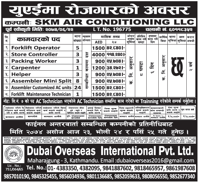 Jobs in UAE for Nepali, salary Rs 1,14,240