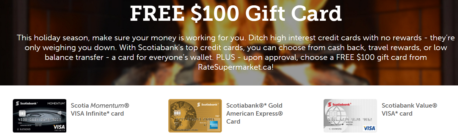 Canadian Rewards: Free $100 Gift Card for 3 Scotiabank credit cards