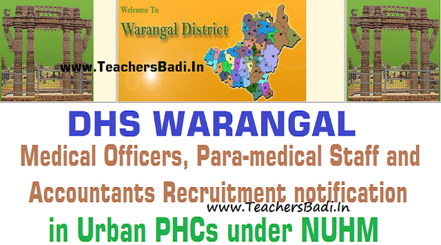 Warangal Medical Officer,ANM,Staff Nurse,Pharmacist,Lab Technician,Accountant Posts 2016