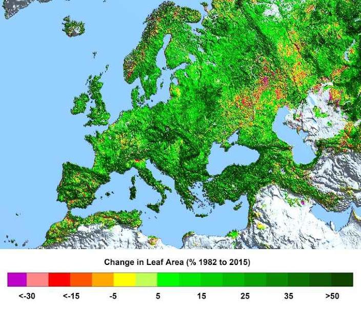 Aumento da superfície foliar na Europa desde 1982 a 2015. Autor: Ranga B. Myneni, Universidade de Boston.