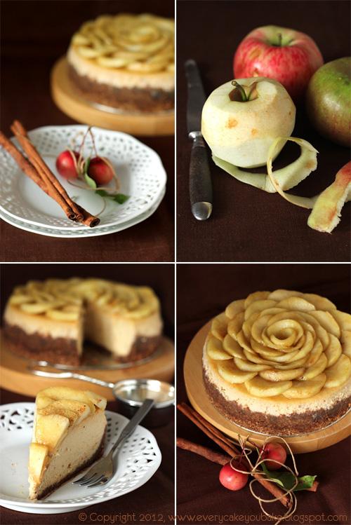 jesienny sernik cynamonowy z duszonymi jabłkami