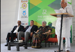 Shri R.V. Deshpande, Karnataka's Minister for Large & Medium Industries and Infrastructure Development on the podium