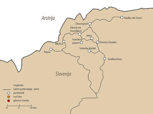 Izlet na Koroško, zemljevid Koroška