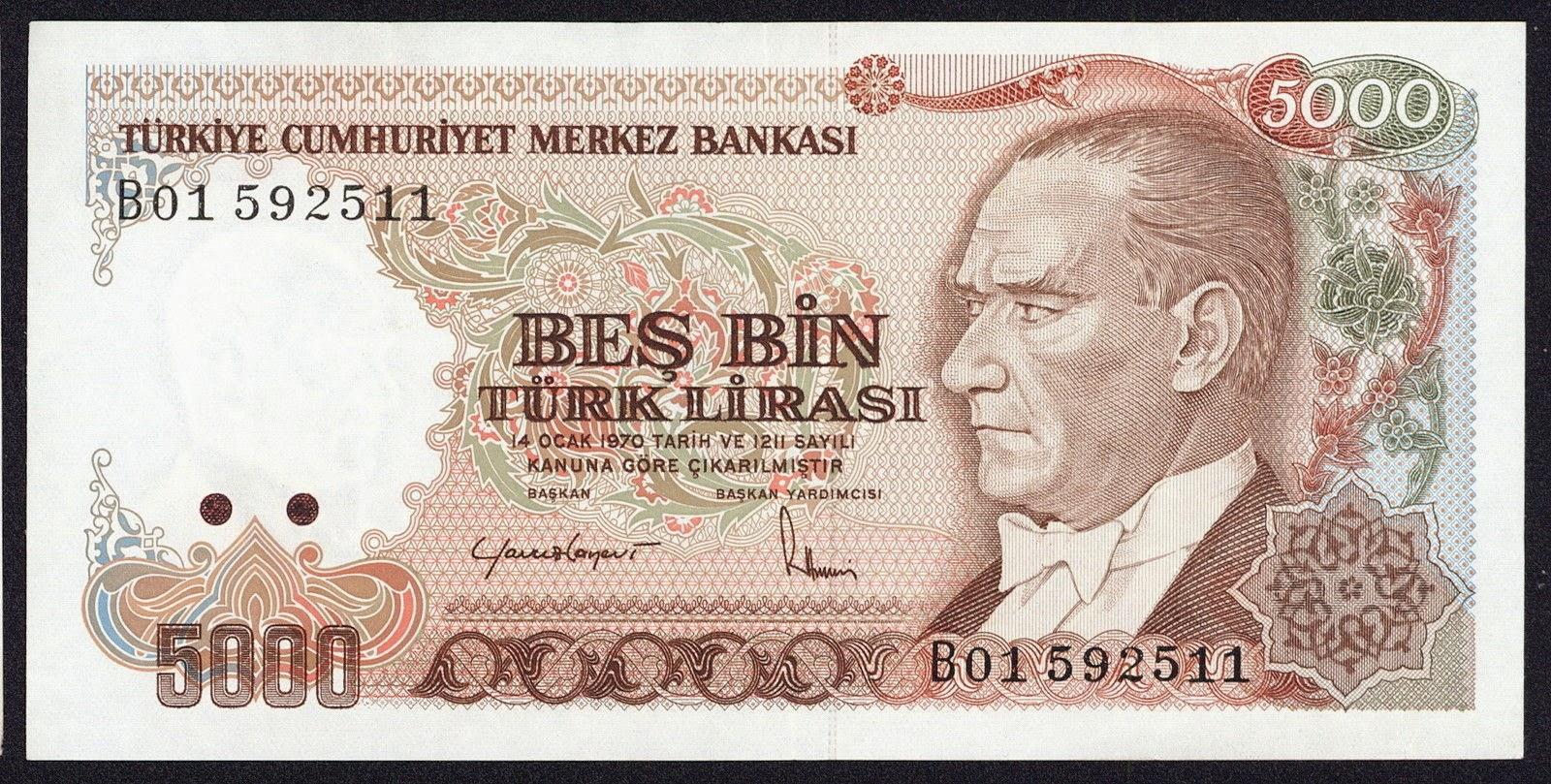 """Turkey Banknotes 5000 Turkish Lira """"Türk Lirasi"""" note Mustafa Kemal Atatürk"""