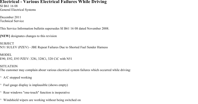 BMW : Electrical - Various Electrical Failures While Driving SI B61