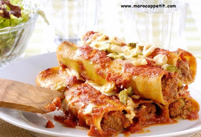 Recette de cannellonis à la viande hachée| Recipe of cannelloni with minced meat