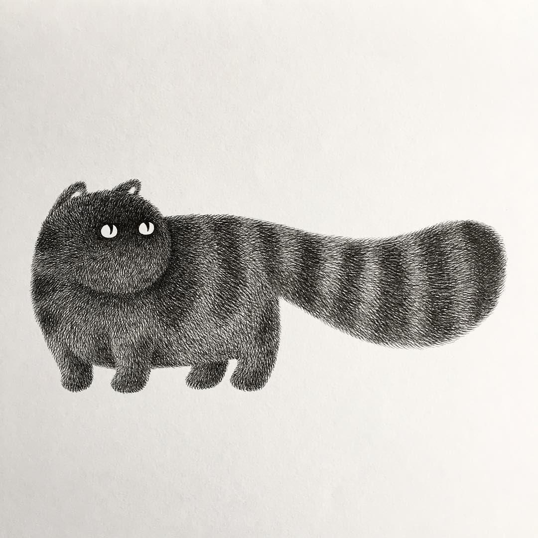 04-Kitty-No-14-Kamwei-Fong-14-Furry-Cats-and-1-Furry-Monkey-Drawings-www-designstack-co
