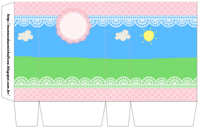 Country field with Pink Lace Free Printable Box.