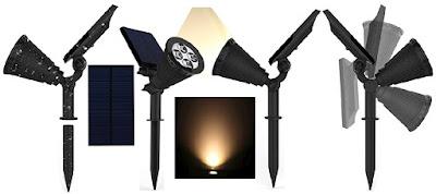 Magictec Solar-Powered LED Lights - Outdoor Wall Spotlights - Landscape Security Nightlight