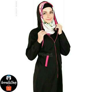 HJ16 Hijacket BASIC Black x Pink ORIGINAL PREMIUM FLEECE JAKET HIJAB JAKET MUSLIMAH
