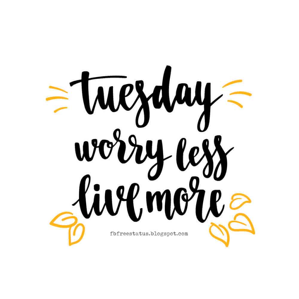 Tuesday worry less, live more.