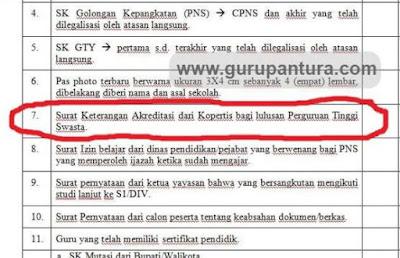 surat keterangan akreditasi dari Kopertis untuk PTS