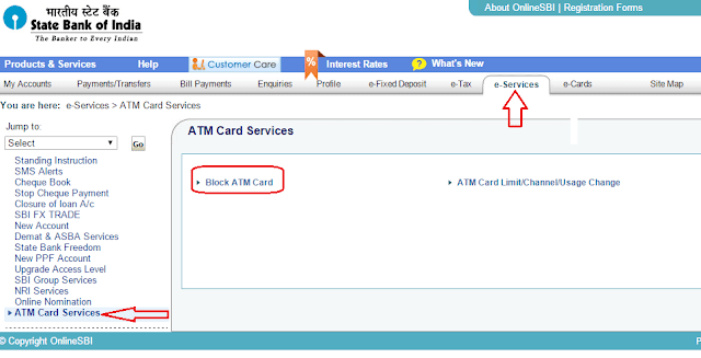 If the ATM card is lost, then it can block the card from the mobile