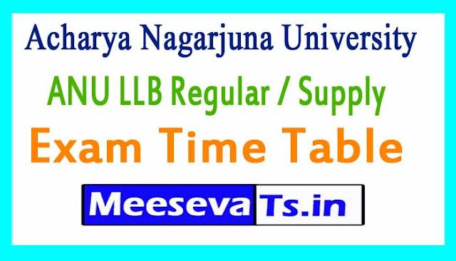 Acharya Nagarjuna University ANU LLB Regular /Supply  Exam Time Table 2018