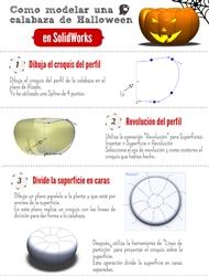 infografia tutorial diseño calabaza halloween solidworks