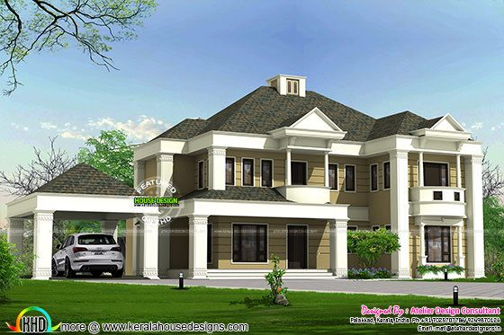 Colonial style sloped roof villa