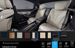 Nội thất Mercedes Maybach S600 2016 màu Vàng Porcelain / Đen (515)