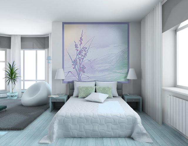 décoration bleue en tête de lit pour la chambre