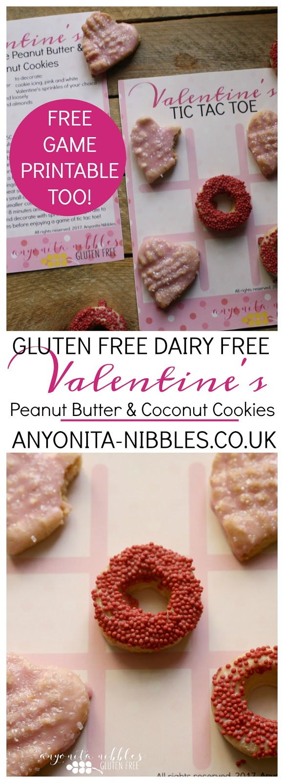 Gluten free and dairy free Valentine's Peanut Butter and Coconut Cookies | Anyonita-Nibbles.co.uk