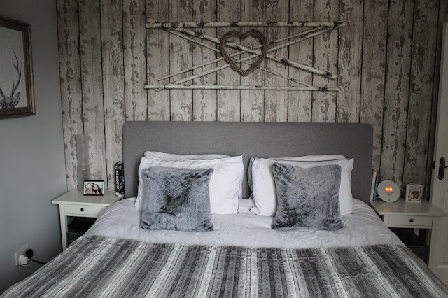 DIY rustic log cabin bedroom