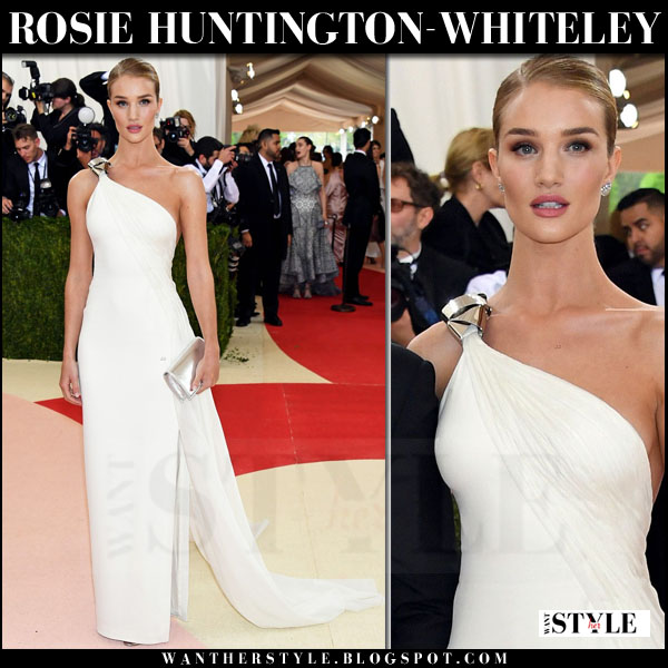 Rosie Huntington-Whiteley in one shoulder white gown ralph lauren met gala red carpet 2016 what she wore