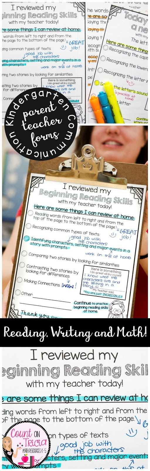 Classroom Management made simple with Kindergarten Parent Communication Forms for Kindergarten Reading Assessment and Kindergarten Math Assessments