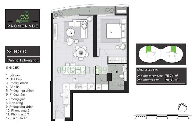 Tháp Pormenade căn hộ City Garden - 1 Phòng ngủ C