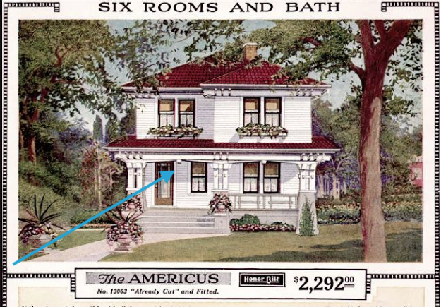 Sears Americus front porch detail