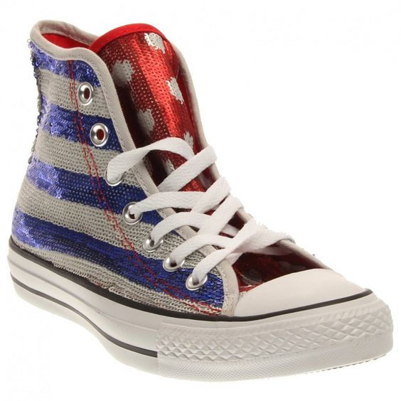 Sequined Red white blue Converses