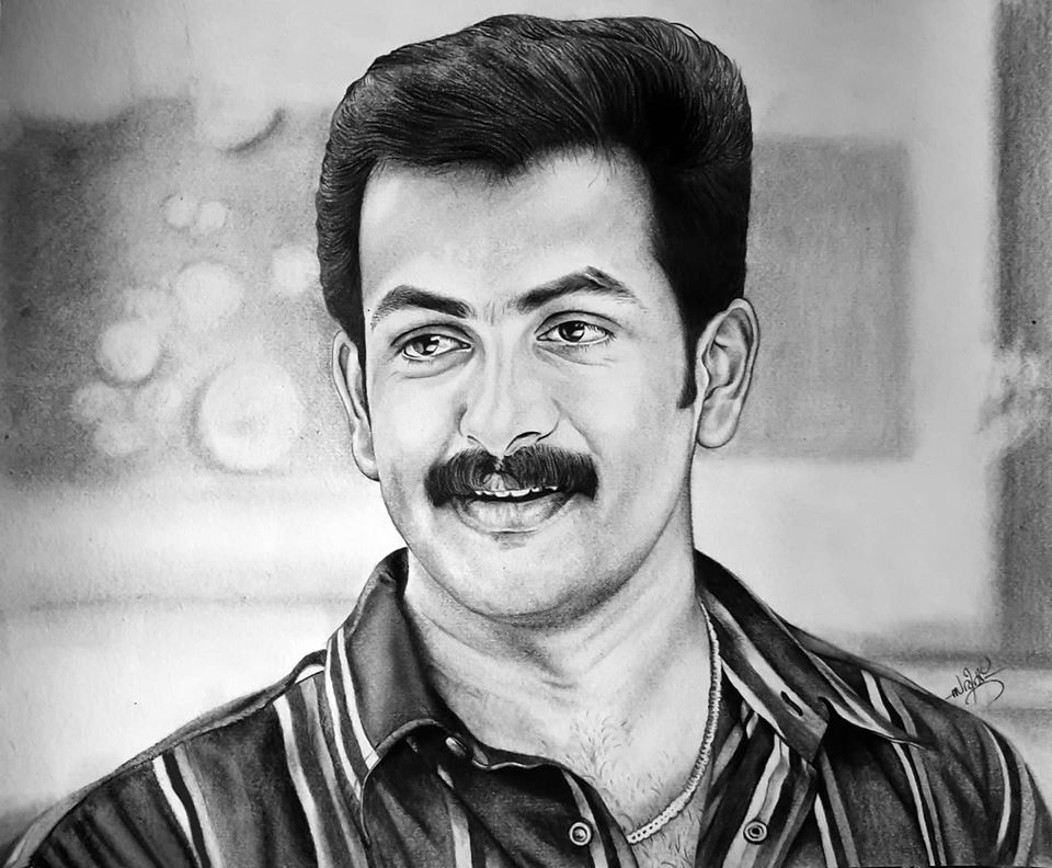 Pencil drawing of actor Prithwiraj Old Look