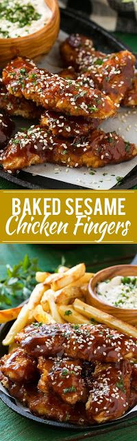 Baked Sesame Chicken Fingers With Fries
