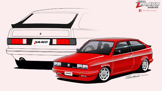 Imagem do Volkswagen Gol na cor vermelha, com faróis retangulares do Passat 1987, lanternas do Santana EX e bodykit com linhas inspiradas no Scirocco de segunda geração.