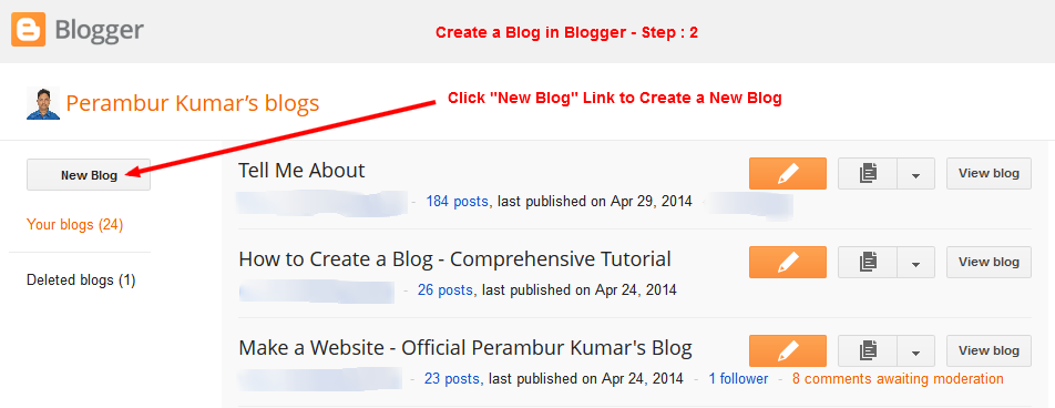 """Create a Blog on Blogger - Go to Blogger Dashboard - Click """"New Blog"""" - Step-2"""