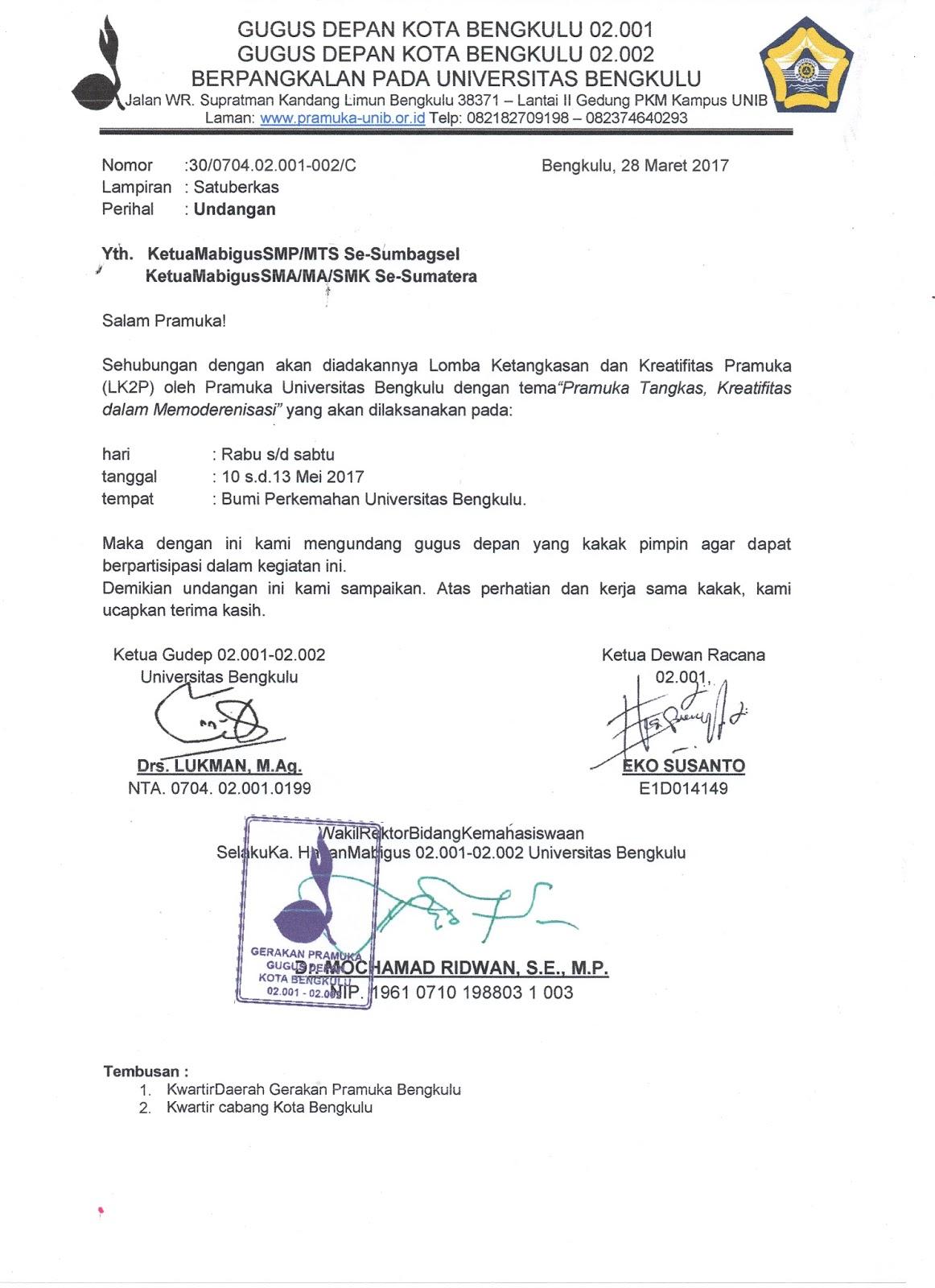 Contoh Surat Undangan Resmi Organisasi Pramuka Suratmenyurat Net