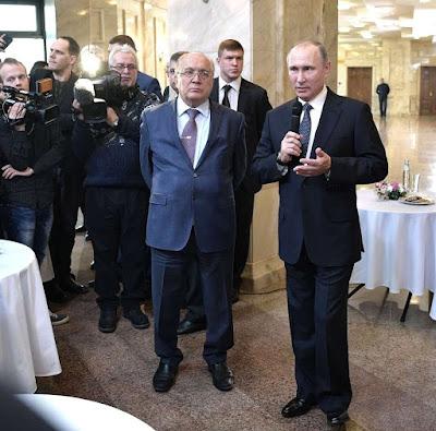 Vladimir Putin with Moscow State University Rector Viktor Sadovnichy.