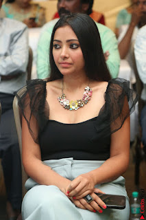 Swetha Basu in a Black Sleeveless Top Long Skirt at Mixture Potlam Movie Audio Launch 030.JPG