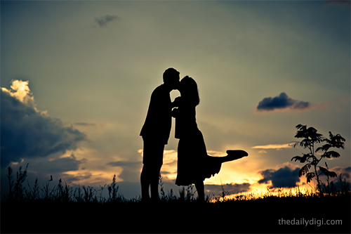 Husband and wife silhouette consider, what