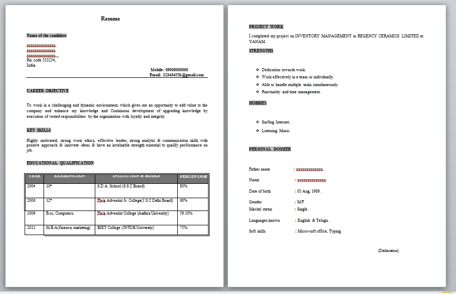 Freshers Resume Samples