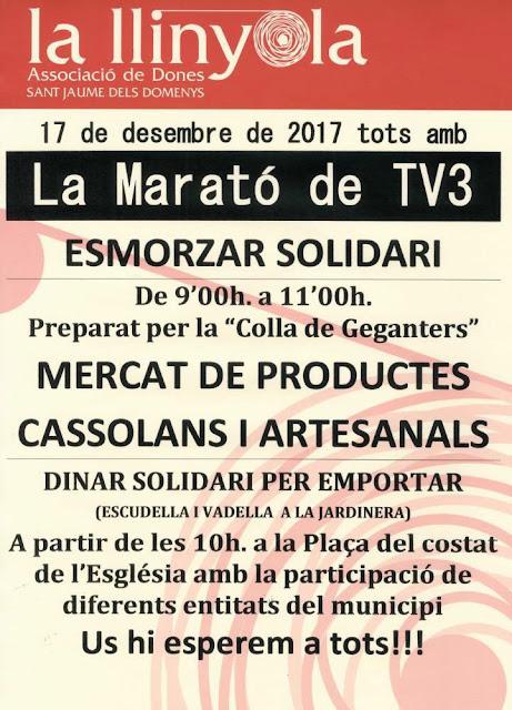 Esguard de Dona - La Marató TV3 - Esmorzar i Dinar Solidari - Mercat de Productes Cassolans i Artesanals