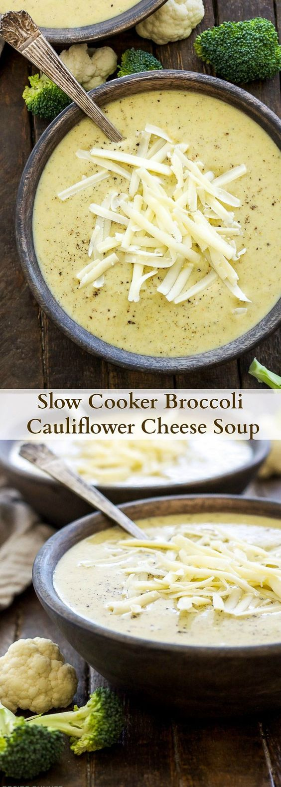 SLOW COOKER BROCCOLI CAULIFLOWER CHEESE SOUP #slowcooker #broccoli #cauliflower #cheese #cauliflowersoup #broccolisoup #soup #souprecipes #healthysouprecipes