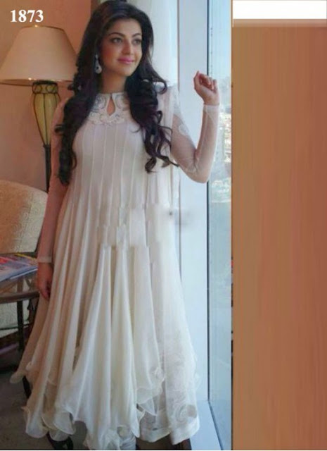 Kajal Aggarwal White Anarkali Suit