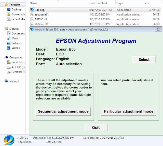 Epson B-30 Adjustment Program